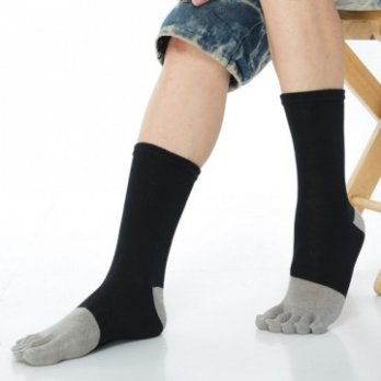 [KEROPPA] Can Nuopa Wicking Bamboo Care 1/2 Toe Socks For Men X2 Dual C90009- Black With Gray
