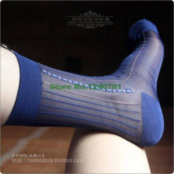 [globalbuy] 5 Pieces/Lot New Style Thin Stripe SOCK Mens Combed Short Silk Socks Brand Man/4213006