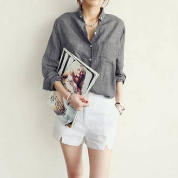 [globalbuy] Women\s Slim Long Sleeve Autumn Shirts Button Down Shirt OLCotton Top DR/4221284