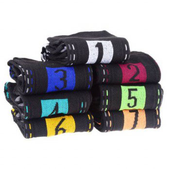 [globalbuy] SYB 2016 NEW Novelty Daily Socks 7 Days Week Socks for Men (7 Pair/Set)Black/4212957