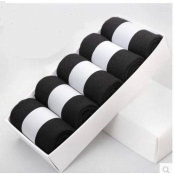 [globalbuy] male socks relent black 100 cotton knee-high socks riskier loose male socks bo/4213000
