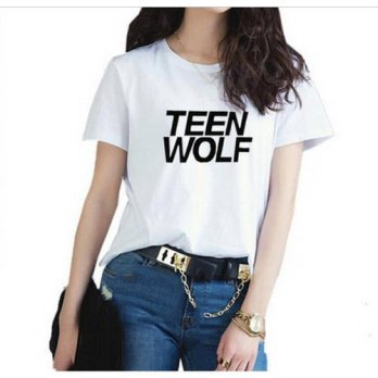 [globalbuy] 2016 Fashion Harajuku T-Shirts Women teen wolf Casual Short-Sleeve For Female /4221275