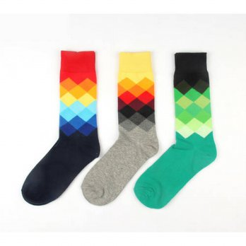 [globalbuy] 24pcs=12pair HOT cotton Korea happy socks Graduate Color diamonds rhombic wave/4212966