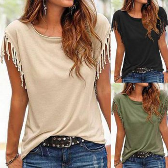 [globalbuy] Women T Shirt Tops Knot Tassel Tee Crewneck Slim Fit Fashion Elegant S-2XL Bla/4221235