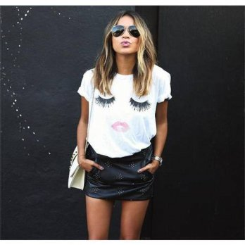 [globalbuy] 2015 New Summer Style Women Fashion Short Sleeves Shirts O-Neck Casual Loose G/4221224