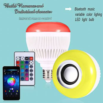 [globalbuy] Bluetooth Remote Control Music Audio Speaker LED RGB Color Smart Bulb Light La/3693313