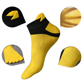 [globalbuy] 1Pair Five Finger Toe Men\s Socks Cotton short tube Mesh finger Meias Polyeste/4212918