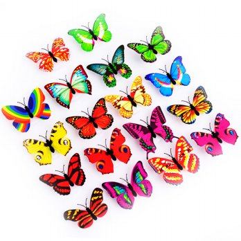 [FREE ONGKIR] 10 Pcs Wall Stickers Butterfly LED Lights Wall Stickers 3D House Decoration