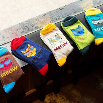 [globalbuy] Fashion Creative Colorful Cat Pattern Cotton Men Socks Casual Originality Sock/4212867