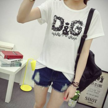 [globalbuy] 2016 Fashion Brand T Shirt Women VOGUE Printed Printed T-shirt Women Tops Tee /4221150