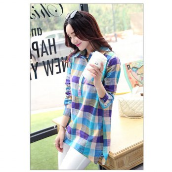 [globalbuy] 2016 New Style Spring Autumn Collar Long Sleeve Plaid Shirt Women Fashion Cott/4221139