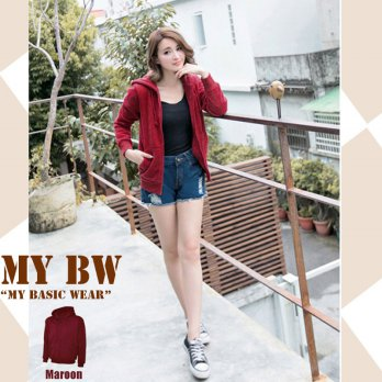 Hoodie Jacket with Ziper plain colour Maroon
