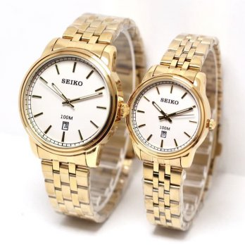 Jam Tangan Seiko Couple SK355 Rantai Gold White