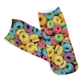 [globalbuy] 2pairs 3D Donuts Printed Short socks Women Men Low Cut Ankle Colorful Cotton C/4212207