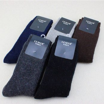 [globalbuy] Solid Color Mens Socks Rabbit Wool Thick Socks Business Male Keep Warm Terry S/4212206