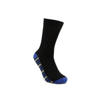 [globalbuy] men black with color striped sock casual crew long sock cotton wick anti bacte/4212168