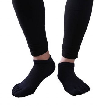 [globalbuy] 1 Pairs Solid Socks Men Fiver Finger Toe Socks Cotton Men Anti-slip Dunk Low N/4212174