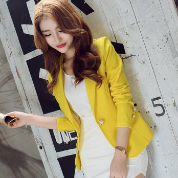 [globalbuy] 2016 summer womens one button casual business blazer suit coat outwear/4220312
