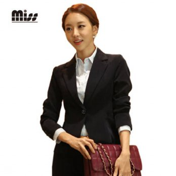 [globalbuy] MISS 2016 4XL Women Slim Black Formal Blazer Long Sleeve Office Uniform Design/4220302