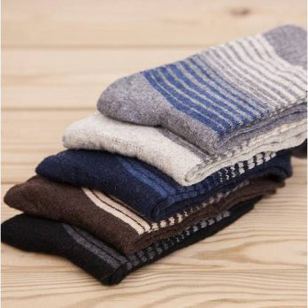 [globalbuy] 5 Pairs 2016 Winter Men Socks Warm Thick Wool Mixture angora Cashmere Casual D/4212127