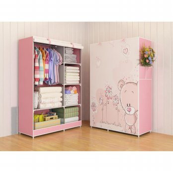 Lemari Baju Pakaian Organizer Cloth 03 BEAR Multifunction Wardrobe Rack with cover Bongkar Pasang