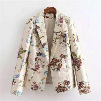 [globalbuy] Women fashion floral print blazer vintage long sleeve pockets outwear casaco f/4220256