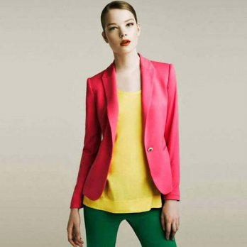 [globalbuy] European and American Women New Fashion Womens Candy-colored Blazers Jacket Sl/4220231