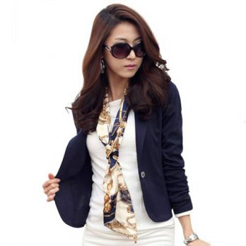 [globalbuy] Women Slim Blazer Coat New Fashion Casual Jacket Long Sleeve One Button Suit L/4220229