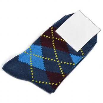 [globalbuy] Summer Style Colorful Socks Men Blue Series Grids Cotton Sox Mens Business Dre/4212076