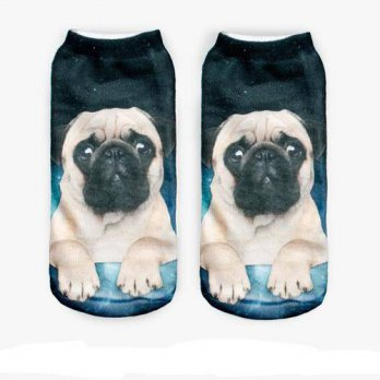 [globalbuy] 2016 Fashion new 3D Print pug Animal women Socks Casual cartoon Socks Unisex L/4212063