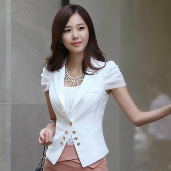 [globalbuy] Fall Fashionable Ladies Nice Blazers Femininos White Short Sleeve Black Blazer/4220198