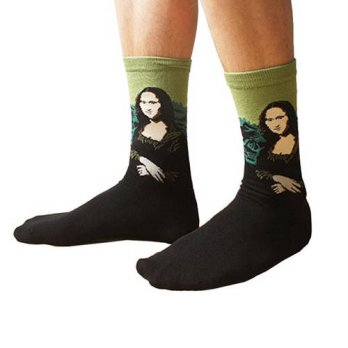 [globalbuy] 2016 New Men Women Sock 3D Oil Painting Mona Lisa/Starry Night/The Munch Screa/4212043