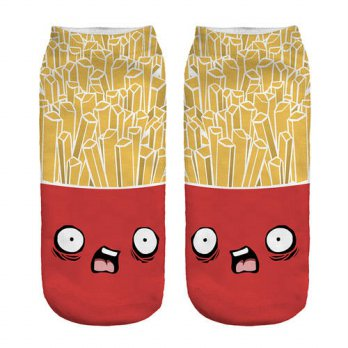 [globalbuy] 1pair 3D Scared Zombie Printed Short socks Women Men Red&Yellow Low Cut Ankle /4212006
