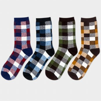 [globalbuy] Fashion Mens Socks Brand New Plaid Design Middle Tube Sock Men Casual Breathab/4211967