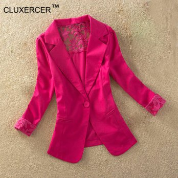 [globalbuy] CLUXERCER Brand Women Blazers And Jackets Fashion Casual Spring Jacket Lace Sp/4220189