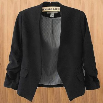 [globalbuy] Women Slim Short Casual Suit Jacket Stylish Candy Color Blazer Coat Plus Size/4220168