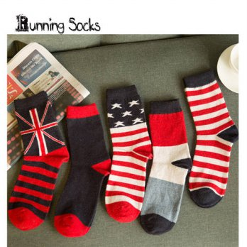 [globalbuy] new arrived 5 colors individual National flag men and womens Socks winter cott/4211964