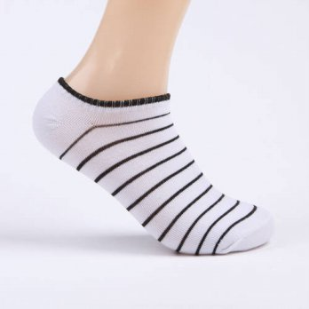 [globalbuy] Fashion Low Cut Men Cotton Socks Invisilble Slippers Strip Sock/4211959