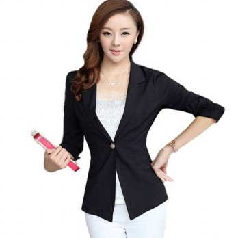 [globalbuy] New Arrival 2016 Spring Autumn Women Blazers And Jackets Suit 3/4 Sleeve One B/4207404