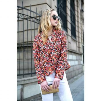 [globalbuy] New Fashion Womens Print Red Floral Autumn Blazers Long Sleeve Casual Suits Ve/4207005