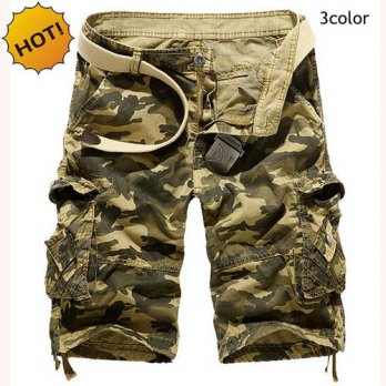 [globalbuy] Outdoors 2016 HOT Loose khaki/Sky Blue/Army Green Cotton Cargo Shorts Tactical/4211577