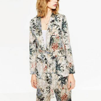 [globalbuy] Women Vintage Floral Leaf Print Ethnic Slim Blazer Suits Casual Long Sleeve No/4206967