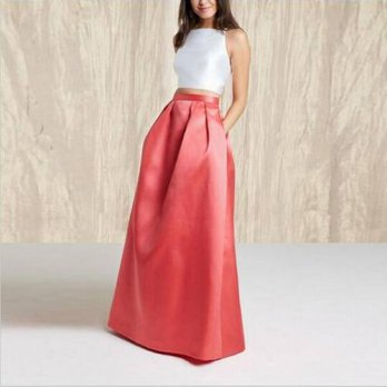 [globalbuy] Trendy Fashion Long Red Color Skirts For Women To Party With Pocket Zipper Sty/4202680