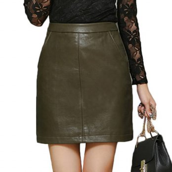 [globalbuy] 2016 Winter High Waist Leather Mini Skirt Vintage Package Jupe Femme Casual sh/4202671