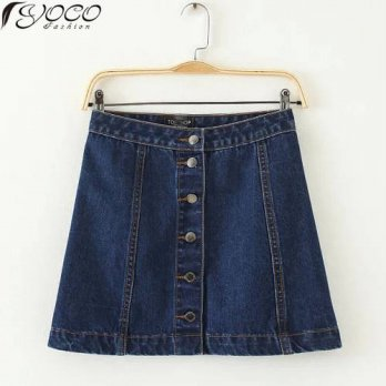 [globalbuy] Summer New Arrival Front Buttoned Women A-line Denim Mini Skirts YC1782/4202625