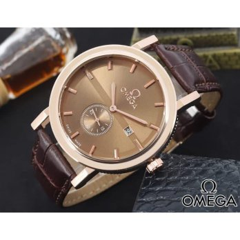 Jam Tangan Pria / Cowok Omega Chrono Detik leather Brown Full Rosegold