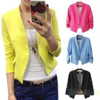 [globalbuy] 2013 Fashion Womens Korea Style Candy Color Solid Slim Suit Blazer Coat Jacket/4206949