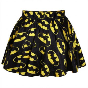 [globalbuy] Batman 3D short Mini skirts thin style pleated skirt Womens Flared Stretch Ska/4202600