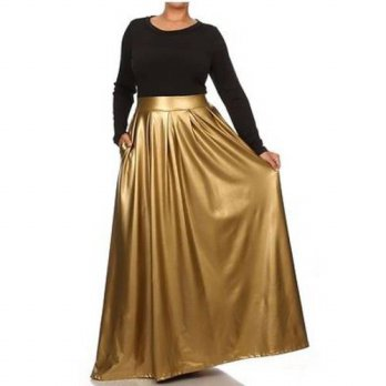 [globalbuy] TWO-TONE COMBO MAXI DRESS FAUX LEATHER HIGH WAIST POCKET PLEATED SWEEP SKIRT/4202596