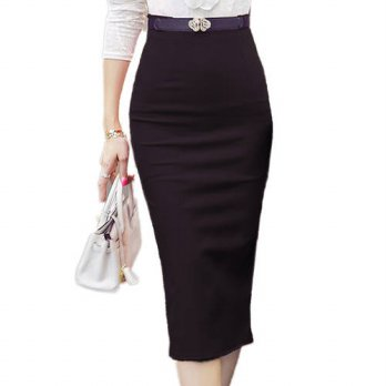 [globalbuy] 2016 Autumn and WInter Women Sexy Pencil Skirts Office Look High Waist Mid-Cal/4202561